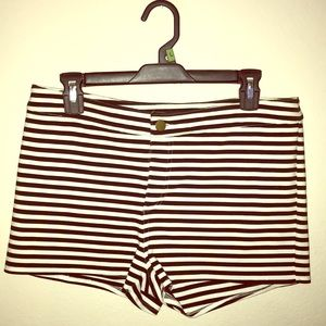 Black and white stripped shorts.